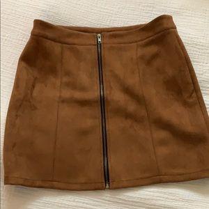 Suede-look skirt